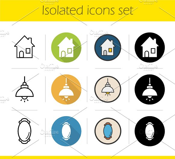 Household items. 12 icons. Vector - Icons