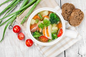 Soup with chicken and vegetable