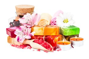 Spa with flowers and soap