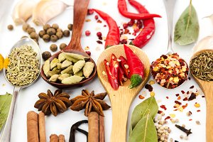 Fragrant spices in spoons