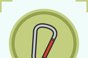 Carabiner color icon. Vector