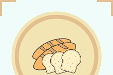 Bread color icon. Vector