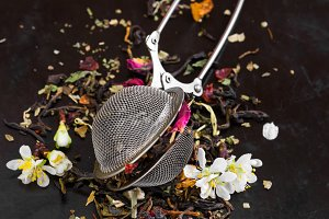 Aromatic flower tea in spoon