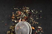 Aromatic flower tea in spoon