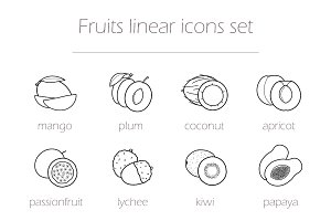 Fruits. 12 linear icons. Vector