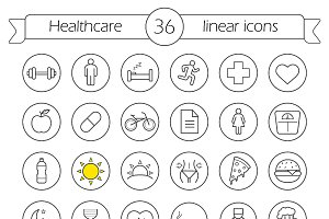 Healthcare. 36 linear icons. Vector