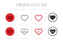Hearts. 12 icons. Vector