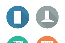 Kitchen electronics. 4 icons. Vector