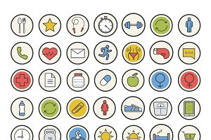 Sport and fitness. 35 icons. Vector