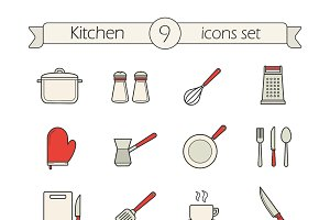 Kitchen utensils. 12 icons. Vector