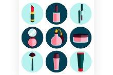 Cosmetic flat icon set