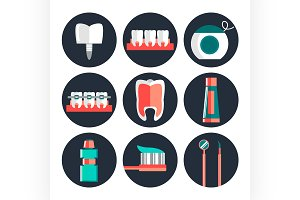 Dental theme flat icons