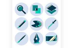 Design tools flat icons set
