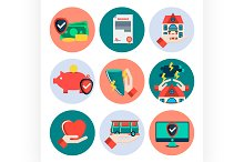 Insurance flat icons set