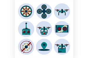 quadrocopter flat icons set