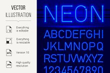 Neon font and symbols