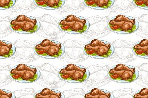 Seamless pattern chicken legs