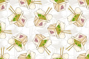 Seamless pattern chinese noodles box