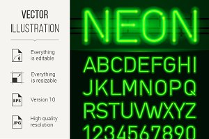 Neon light alphabet