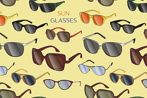 Set of the different sun glasses