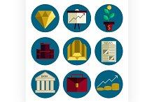 Stock exchange flat icons set