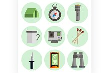 Survival kit flat icons set