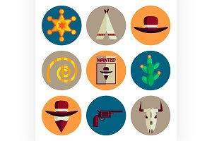 wild west flat icons set