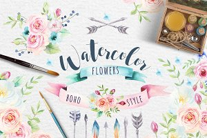Watercolor boho flowers