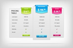 Colorful web pricing table template