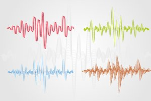 Set of color vector sound waves