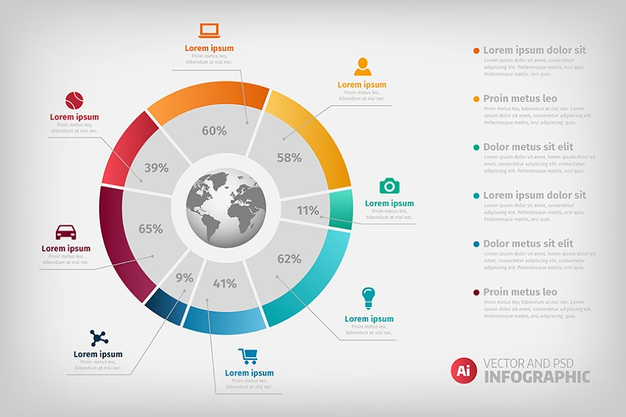 Global diagram colorful infographic
