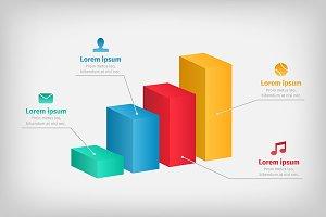 Modern 3d infographics bar chart