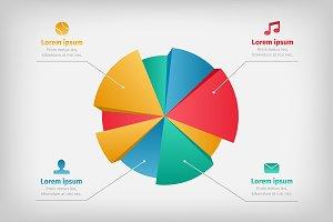 Modern 3d infographics pie chart