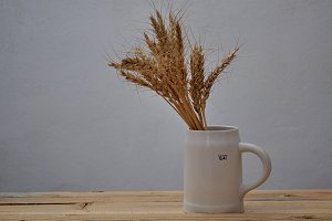 barley and white pitcher