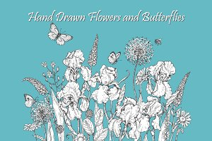 Hand Drawn Flowers and Butterflies.
