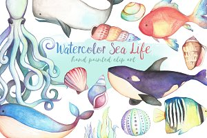 Watercolor Sea Life Clipart Bundle