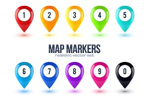 Set of 10 glossy map markers
