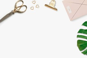 gold & pink styled flat lay photo