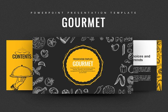 Gourmet food powerpoint presentation templates creative market gourmet food powerpoint presentations toneelgroepblik Images