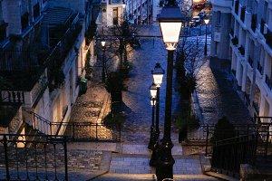 Paris street at dawn