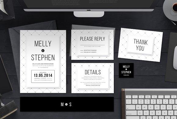 minimalist wedding invitation set invitation templates creative