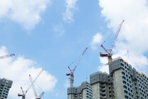 Construction cranes tower