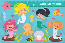 Cute kawaii mermaids