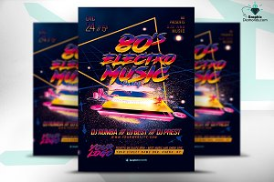 80's Electro Music Flyer PSD