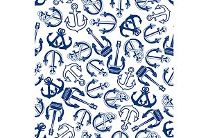 Blue nautical anchors pattern