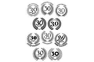 Anniversary heraldic laurel frames