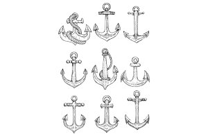 Vintage sailing ships anchors