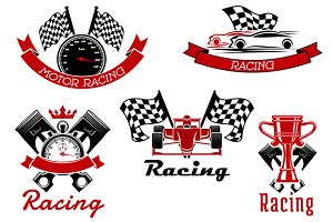 Racing sport icons and emblems
