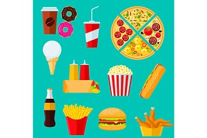 Fast food takeaway menu icons