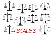 Dual balance scales icons